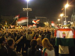 Protesters in Budapest, Hungary in 2006. Photo by Bujatt