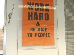 Hard work. Anthony Burrill poster. Photo by wetwebwork