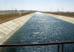 Water Flows away from the Mubarak Pumping Station in Southern Egypt