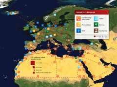 DESERTEC EU-MENA Map: Sketch of possible infrastructure for a sustainable supply of power to Europe, the Middle East and North Africa (EU-MENA) proposed by TREC