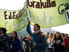 Students protesting on the streets of Santiago