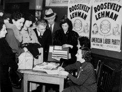 Voter registration table in the United States, 1940. Kheel Center, Cornell University. Flickr CC BY 2.0