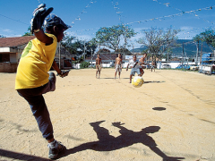 Boys playing soccer in Niterói, Rio de Janeiro