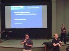 Jonathan Stevens (left) and sign-language interpreters