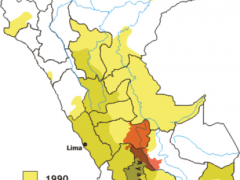 Areas where the Shining Path was active in Peru.