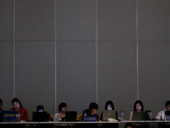 Journalists at the World Economic Forum Annual Meeting of the New Champions in Tianjin, China.