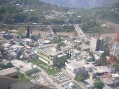 An aerial vie of Pakistan controlled Kashmir's capital Muzaffarabad overlooking Jehlum river bridge.