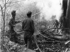 Two hosemen fight a fire