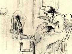 Dos mujeres cosiendo en un interior. 1853. Dibujo tinta, grafito sobre papel. 18 x 27 cm Galería de Arte Nacional, Caracas - Venezuela